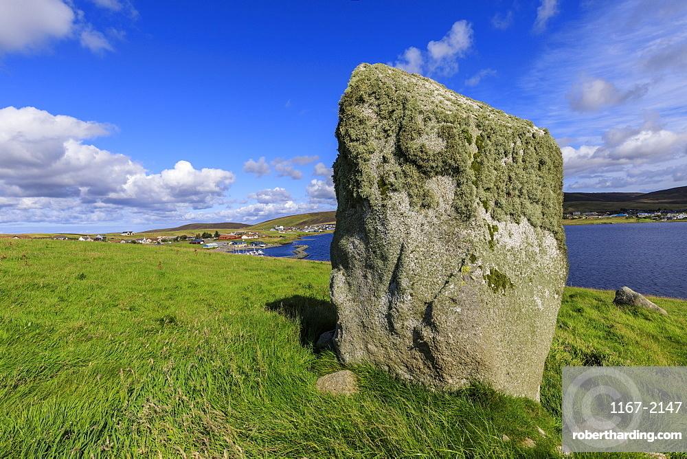 Busta Brae, Standing Stone, cloudscape and coastal views, beautiful day, Busta Voe, Brae, Delting, Shetland Isles, Scotland