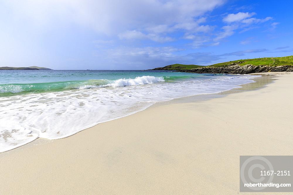 Meal Beach, white sand, turquoise water, one of Shetland's finest, Island of West Burra, Shetland Isles, Scotland, Europe