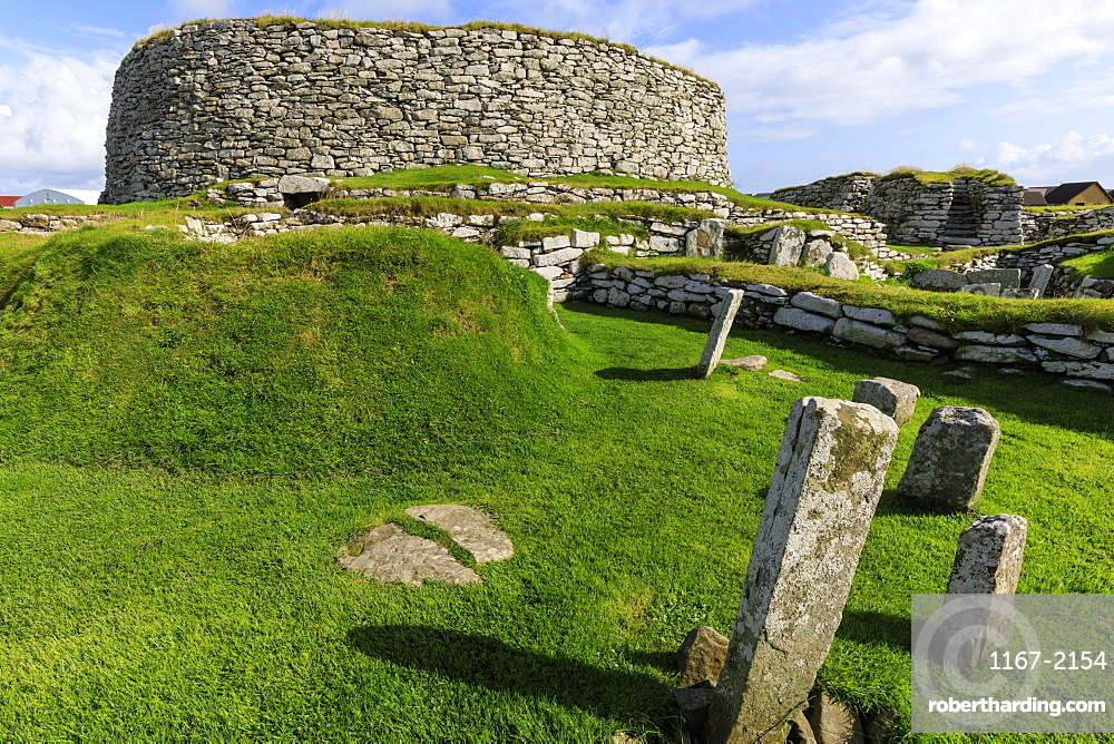 Clickimin Broch, Iron Age Fort, from the West, Clickimin Loch, Central Lerwick,Shetland Isles, Scotland, United Kingdom, Europe