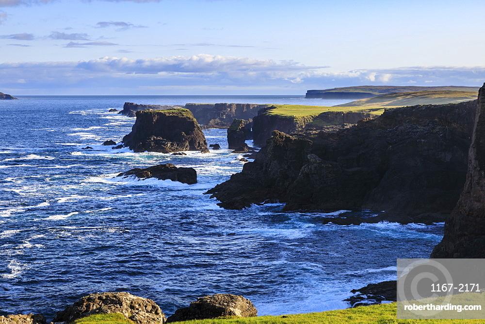 Eshaness, jagged cliffs, stacks, geos and blow holes, Northmavine, Mainland, Shetland Isles, Scotland, United Kingdom, Europe