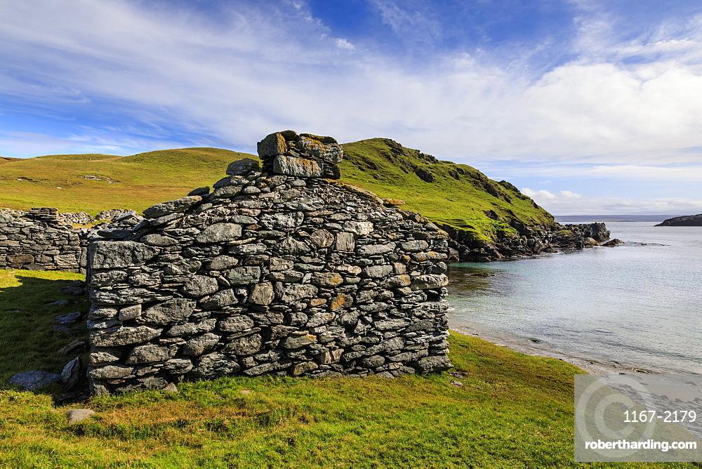 Isle of Fethaland, major Haaf Fishing Station, ruined fishermen's huts, East Ayre, North Mainland, Shetland Isles, Scotland