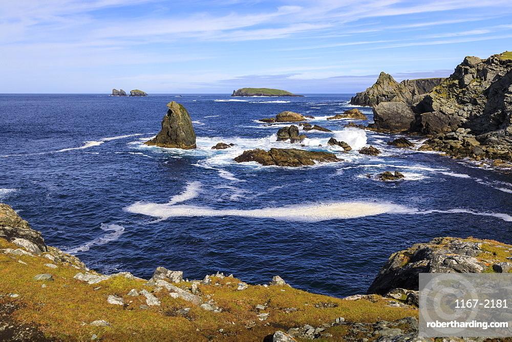 Isle of Fethaland, frothy sea, stacks, cliffs, Isle of Gruney , Ramna Stacks, North Roe, Mainland, Shetland Isles, Scotland