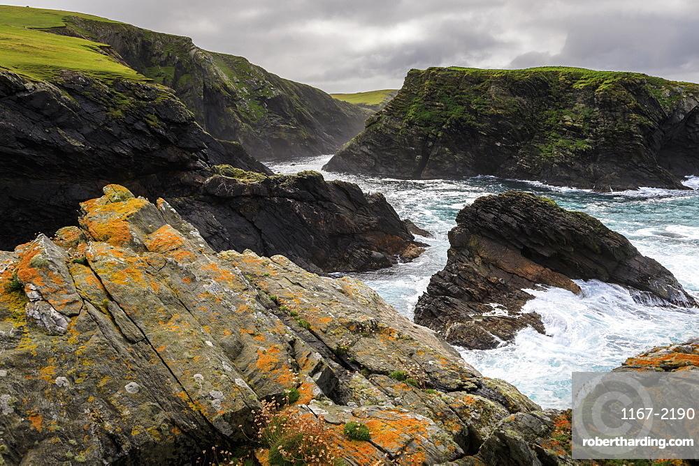 Ketla Ness peninsula, Fugla Stack, dramatic coast, cliffs, clouds, Banna Minn, West Burra Island, Shetland Isles, Scotland