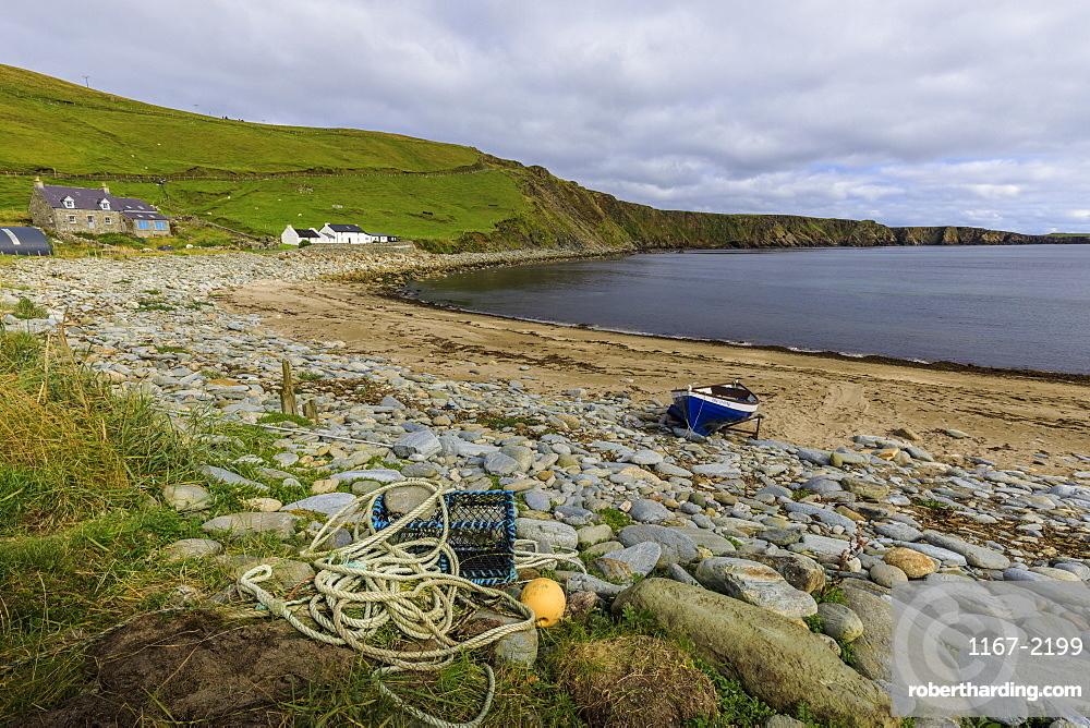 Norwick Beach, yoal, rowing boat, lobster pot, croft houses, Skaw, Island of Unst, Shetland Isles, Scotland, United Kingdom