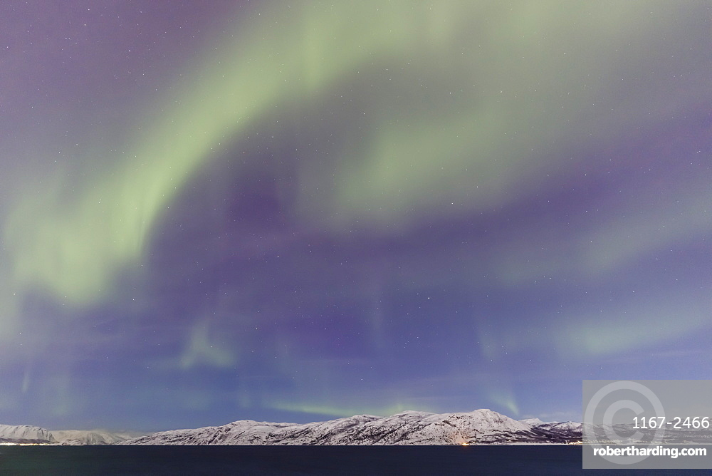 Northern Lights, Aurora Borealis, over mountains of Altafjord, Alta, Troms og Finnmark, Winter, Arctic Circle, North Norway