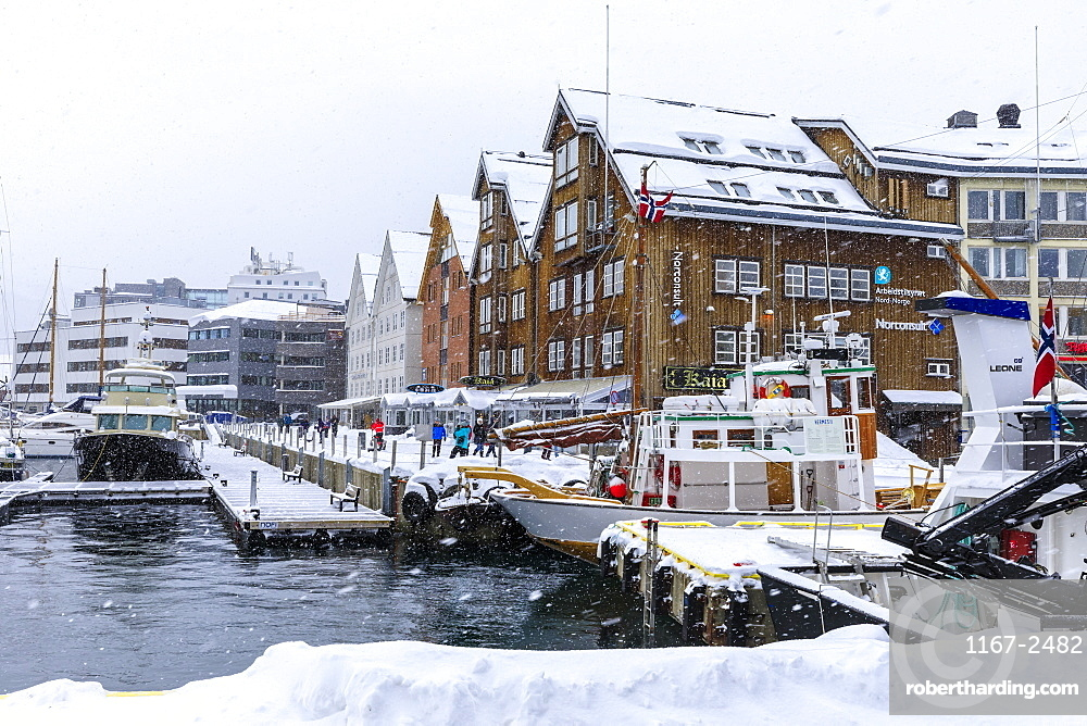 Tromso, small boat harbour, heavy snow, Winter, Troms og Finnmark, Arctic Circle, North Norway