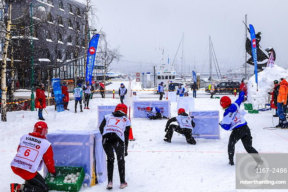 Yukigassen, snowball fight, Winter team sport, heavy snow, Central Tromso, Troms og Finnmark, Arctic Circle, North Norway