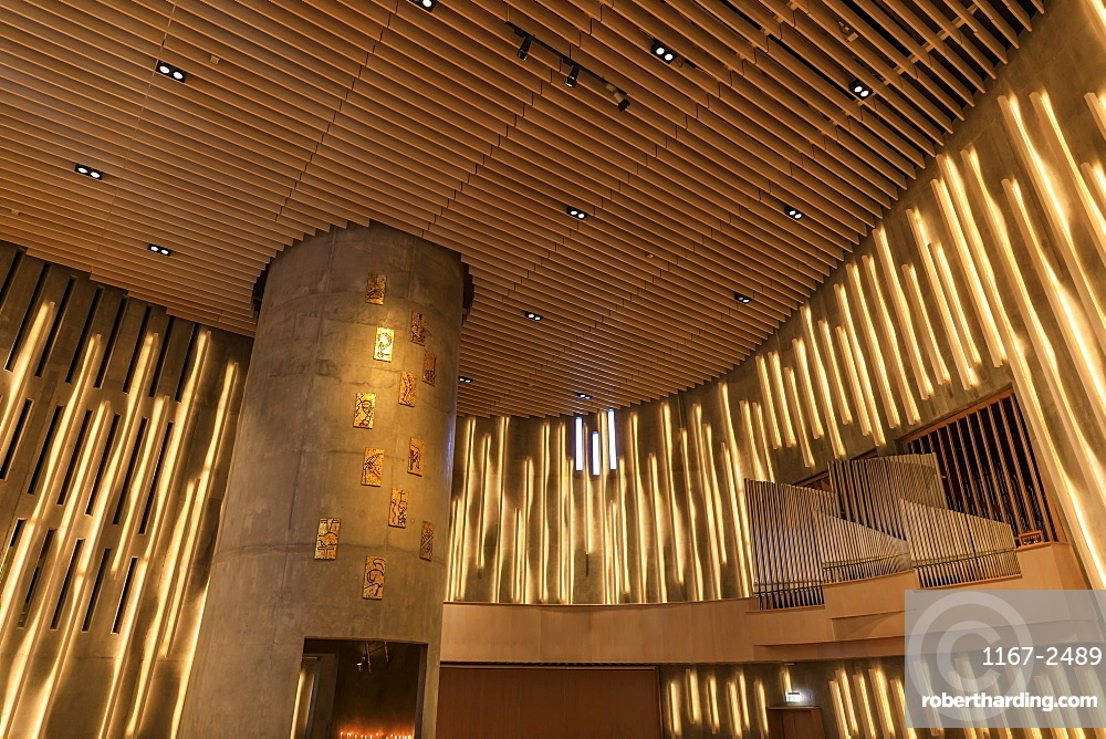 Northern Lights Cathedral, striking interior, Alta, Winter, Troms og Finnmark, Arctic Circle, North Norway, Europe