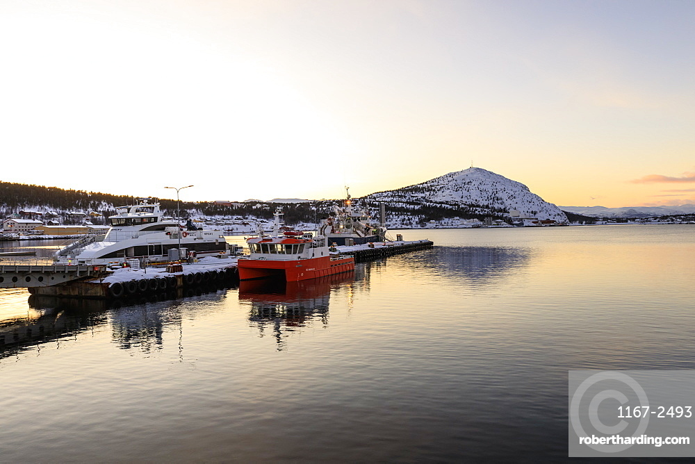 Port, ferry and boats, Altafjord, sea, mountains, snow, sunset, Alta, Winter, Troms og Finnmark, Arctic Circle, North Norway