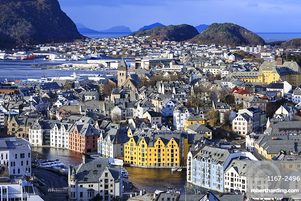 View from Aksla hill over Alesund, Art Nouveau buildings, mountains, sea, Winter, More og Romsdal, Norway, Scandinavia, Europe