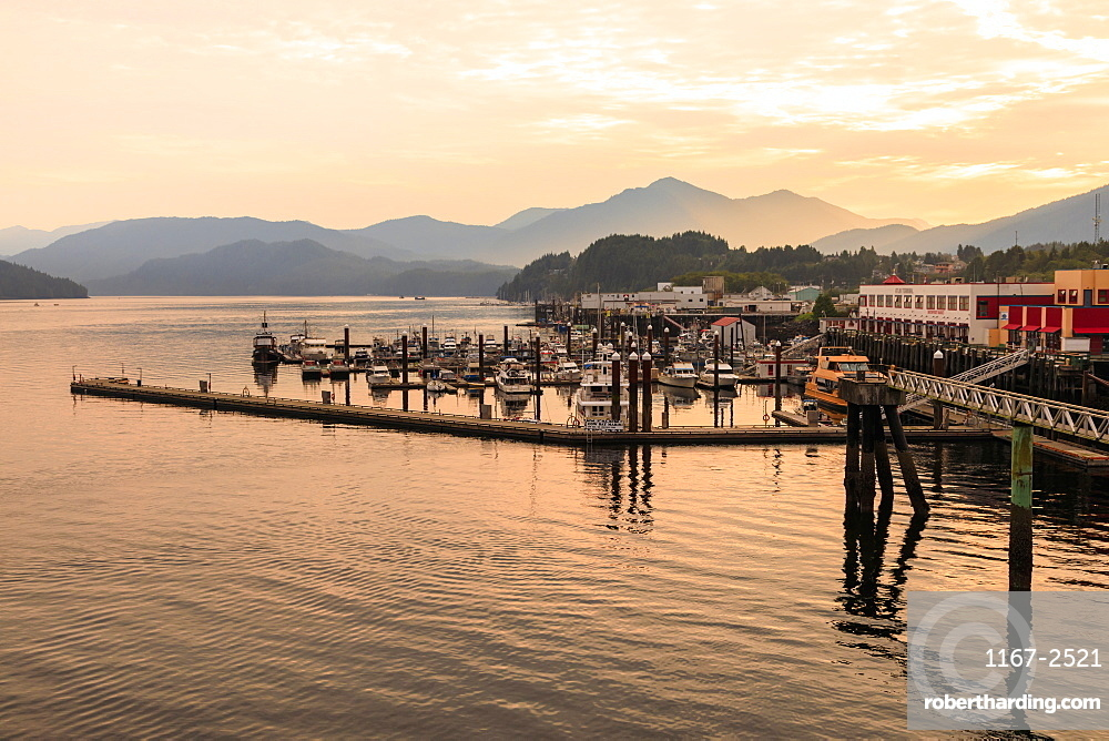 Misty sunrise, waterfront and mountains of Prince Rupert, Inside Passage, North West British Columbia, Canada, North America
