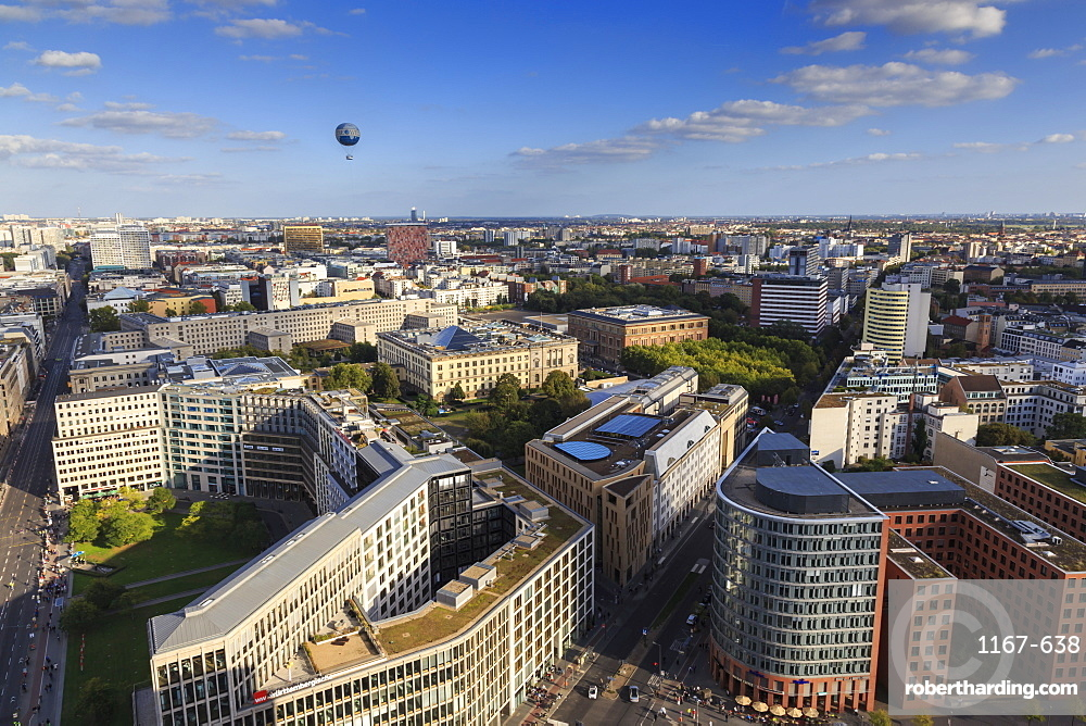 Elevated view, Hi-Flyer over Leipziger Strasse to Stresemannstrasse area, from Panoramapunkt, Potsdamer Platz, Berlin, Germany, Europe