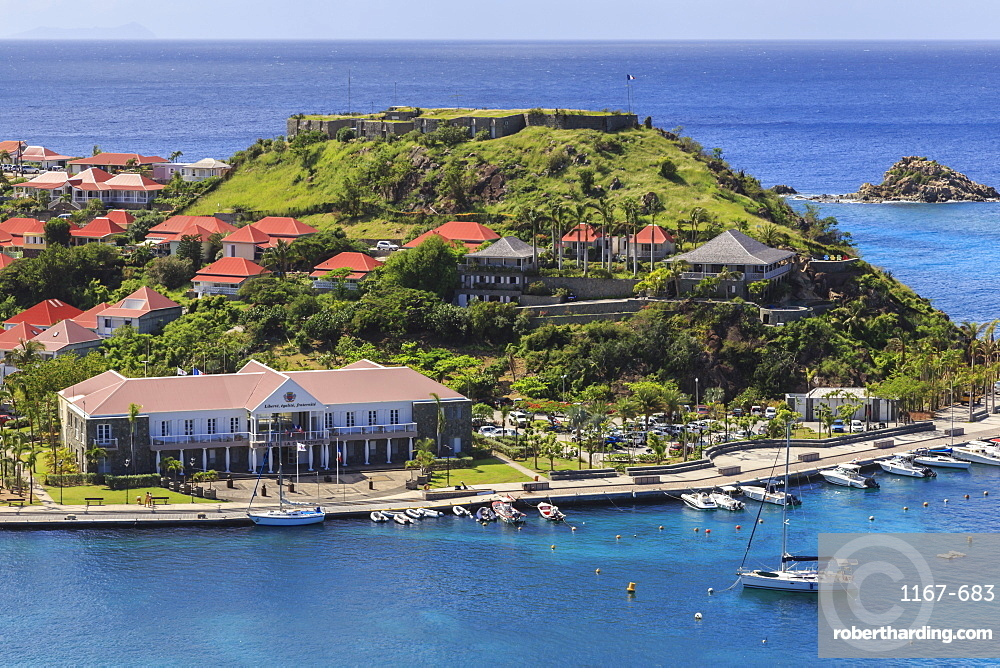 Elevated view, Hotel de la Collectivitie and Fort Oscar from Fort Gustave, Gustavia, St. Barthelemy (St. Barts (St. Barth), West Indies, Caribbean, Central America
