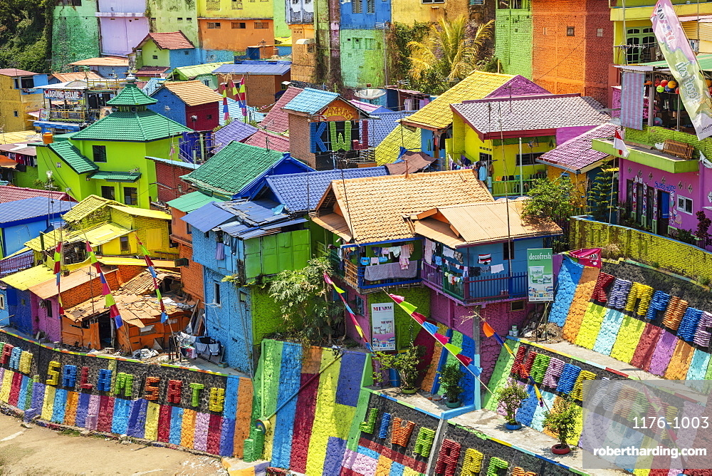 The brightly painted Warna-warni kampong or shanty town (slum), Malang, Java, Indonesia, Southeast Asia, Asia