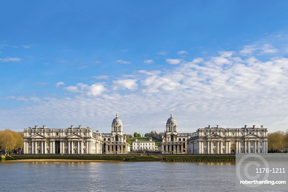 The Royal Observatory, the Queen's House and Christopher Wren's Royal Naval College, Greenwich, London, England, United Kingdom, Europe