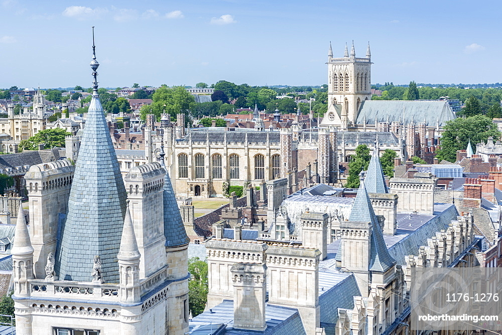 High angle view of the skyline of the city of Cambridge showing university buildings in Caius, Trinity and St John's colleges