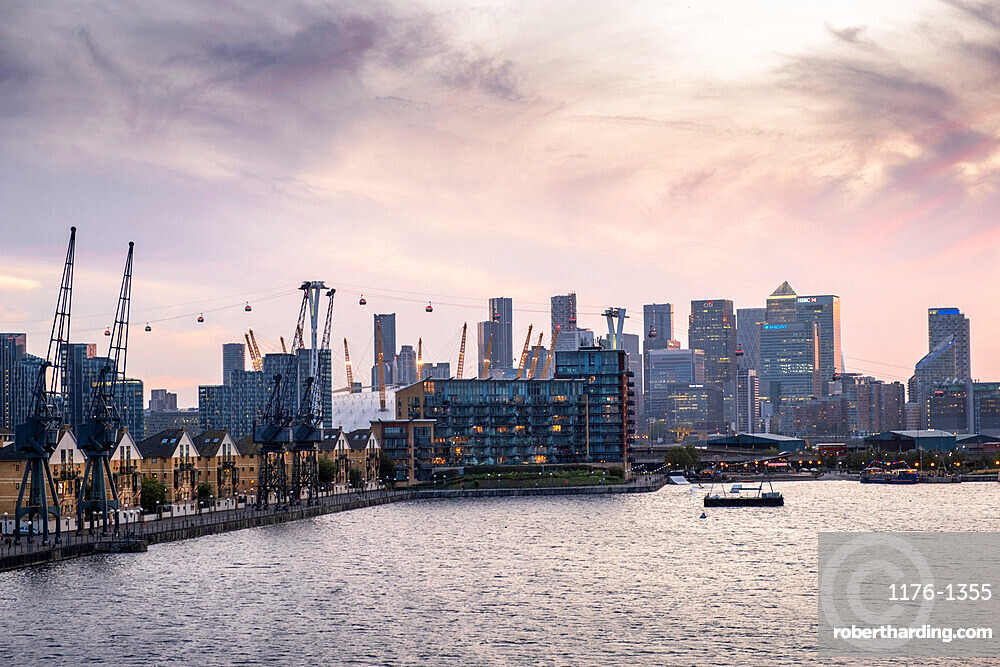 London skyline with Canary Wharf financial district, the O2 Centre Millennium Dome, Emirates Cable Car and Victoria Dock, London, England, United Kingdom, Europe