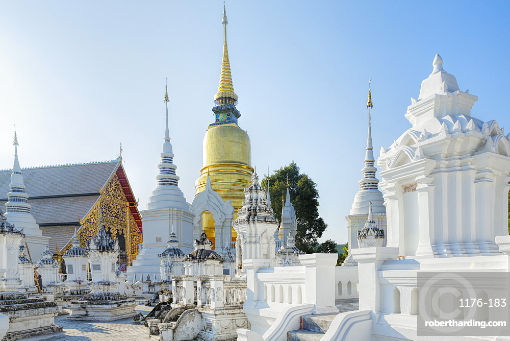 Chedis (stupas) at the temple of Wat Suan Dok, Chiang Mai, Thailand, Southeast Asia, Asia