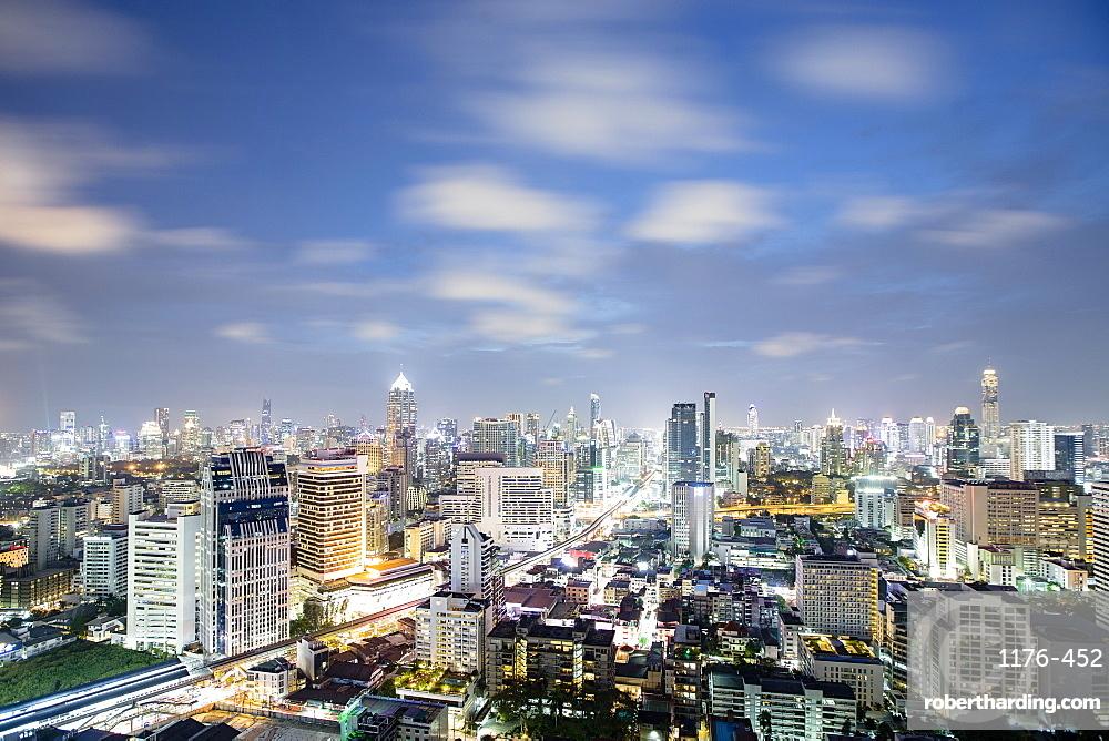 City skyline at night, Bangkok, Thailand, Southeast Asia, Asia