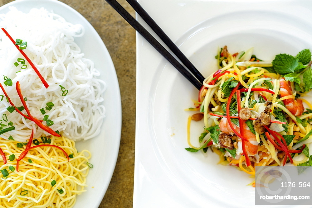 Noodles and seafood with vegetables, Vietnamese food, Vietnam, Indochina, Southeast Asia, Asia