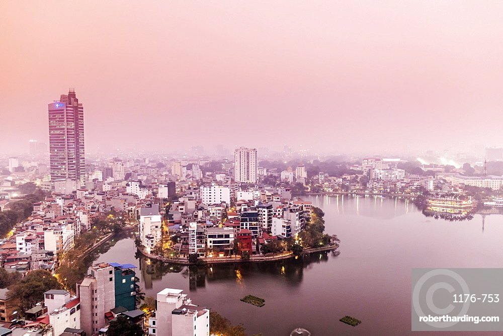 View of the central Hanoi skyline and West Lake, Hanoi, Vietnam, Indochina, Southeast Asia, Asia