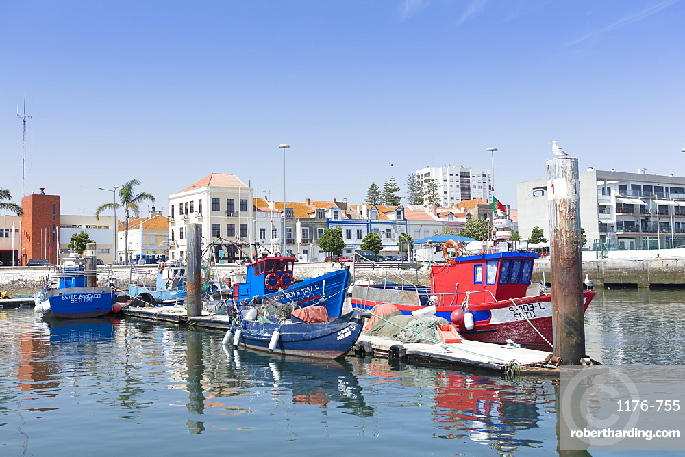 Fishing boat quay in the port city of Setubal, Portugal, Europe