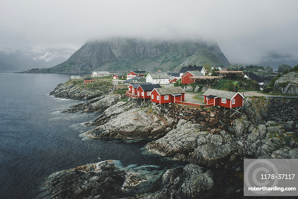 Houses on rocky waterfront