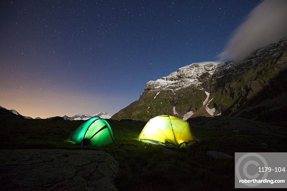 Camping wild under a starry sky, Valmalenco, Valtellina, Lombardy, Italy, Europe