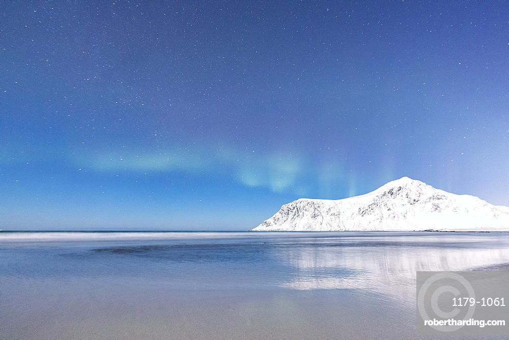 Northern Lights (Aurora borealis) on the snowy peaks reflected in the sea, Skagsanden beach, Flakstad, Nordland county, Lofoten Islands, Norway, Scandinavia, Europe