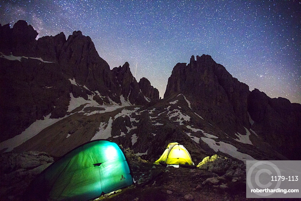 Camping under the stars at the foot of the Cadini di Misurina in the Dolomites, South Tyrol, Italy, Europe