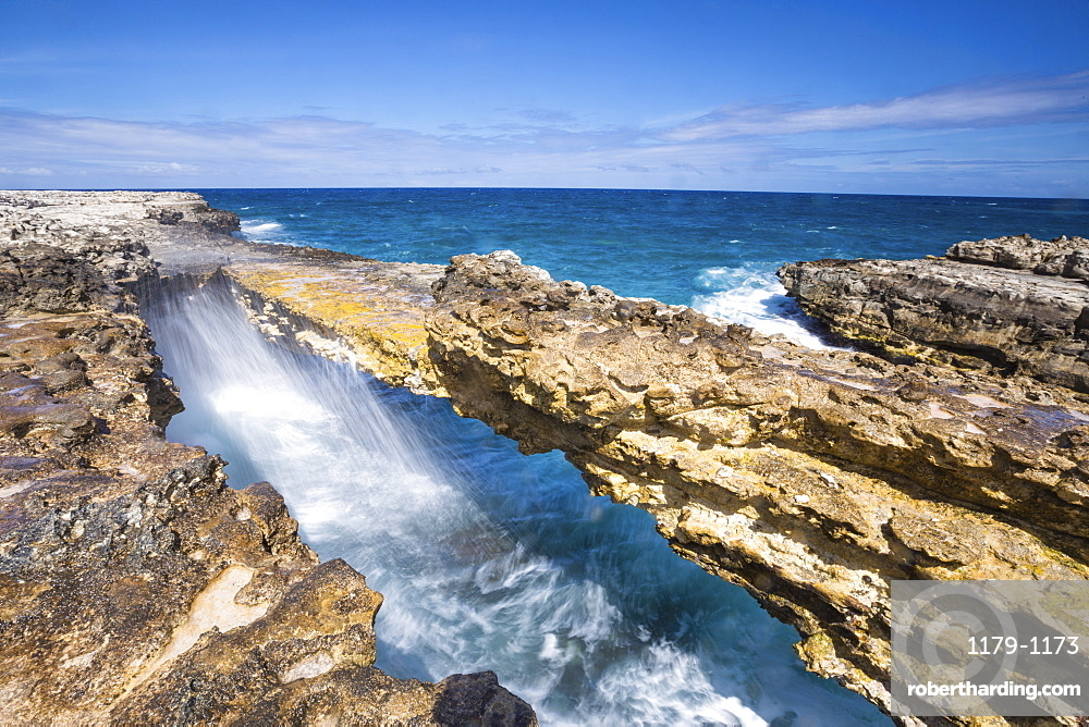 Waves in the natural arches of limestone Devil's Bridge, Antigua, Antigua and Barbuda, Leeward Islands, West Indies, Caribbean, Central America