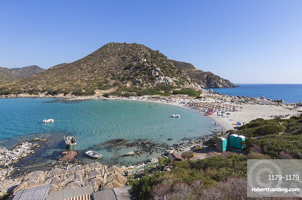 Top view of the bay with turquoise sea and the sandy beach, Punta Molentis, Villasimius, Cagliari, Sardinia, Italy, Mediterranean, Europe