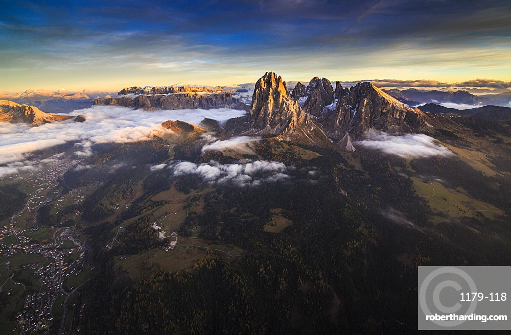 A spectacular view over Sassopiatto (Plattkofel), Sassolungo (Langkofel), the Rolle Group and the Gardena Valley, South Tyrol, Dolomites, Italy, Europe