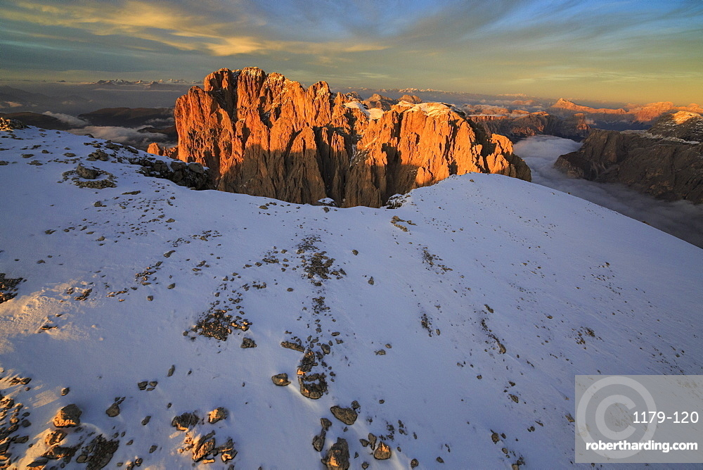 The pinnacles of the Sassolungo (Langkofel), in the red rays of the sunset, South Tyrol, Dolomites, Italy, Europe