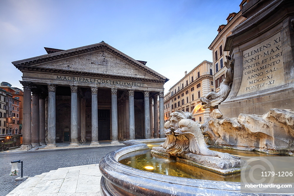 View of old Pantheon a circular building with a portico of granite Corinthian columns and fountains, UNESCO World Heritage Site, Rome, Lazio, Italy, Europe