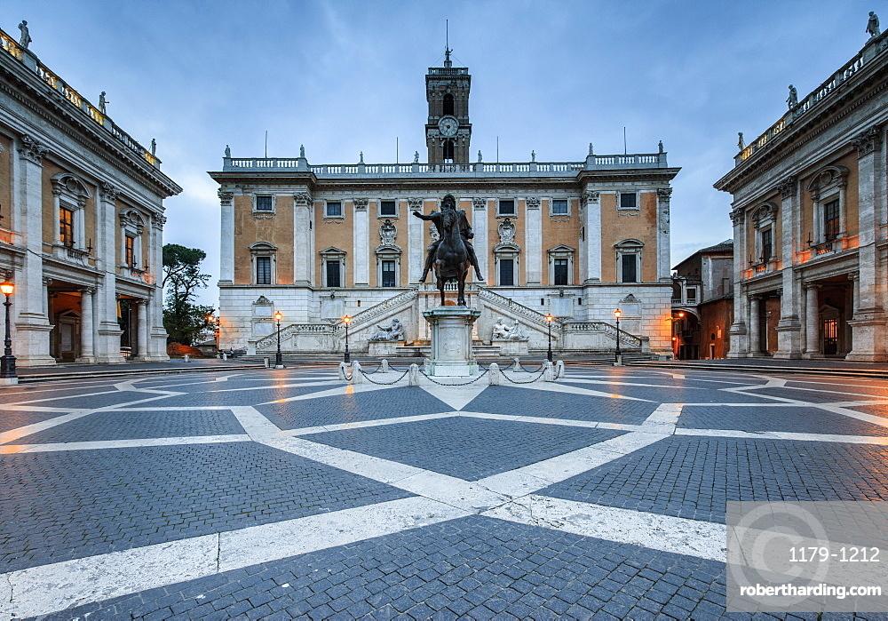 Piazza del Campidoglio where Roman Divinities were praised and nowadays headquarters of the Government, Rome, Lazio, Italy, Europe