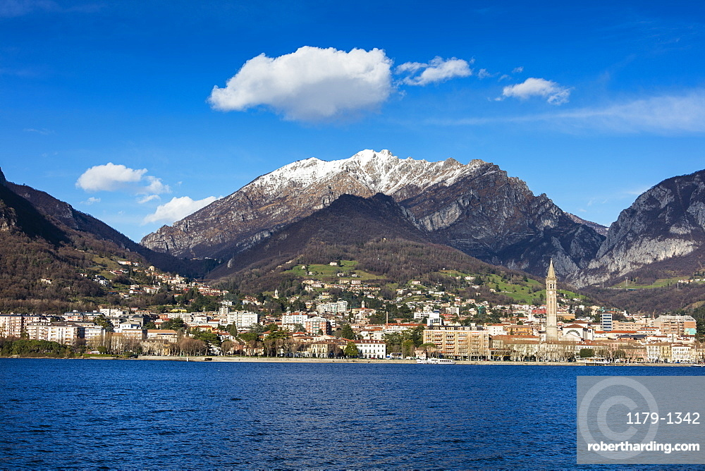 View of Lake Como and the city of Lecco framed by snowy peaks, Italian Lakes, Lombardy, Italy, Europe