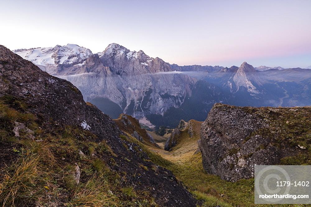 View of the Marmolada mountain range at dawn, Cima Belvedere, Canazei, Val di Fassa, Trentino-Alto Adige, Italy, Europe