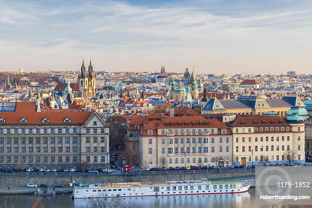View of the historical buildings of the old town from Vltava River, Prague, Czech Republic, Europe