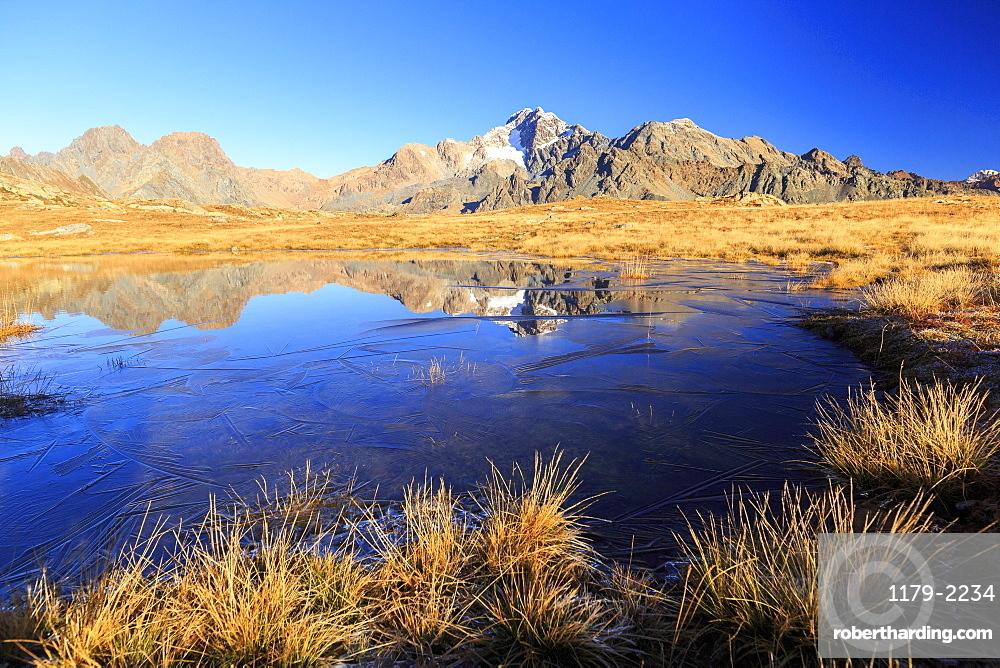 Blue lake frames the peaks of Mount Disgrazia and Cornibruciati, Val Torreggio, Malenco Valley, Valtellina, Lombardy, Italy, Europe