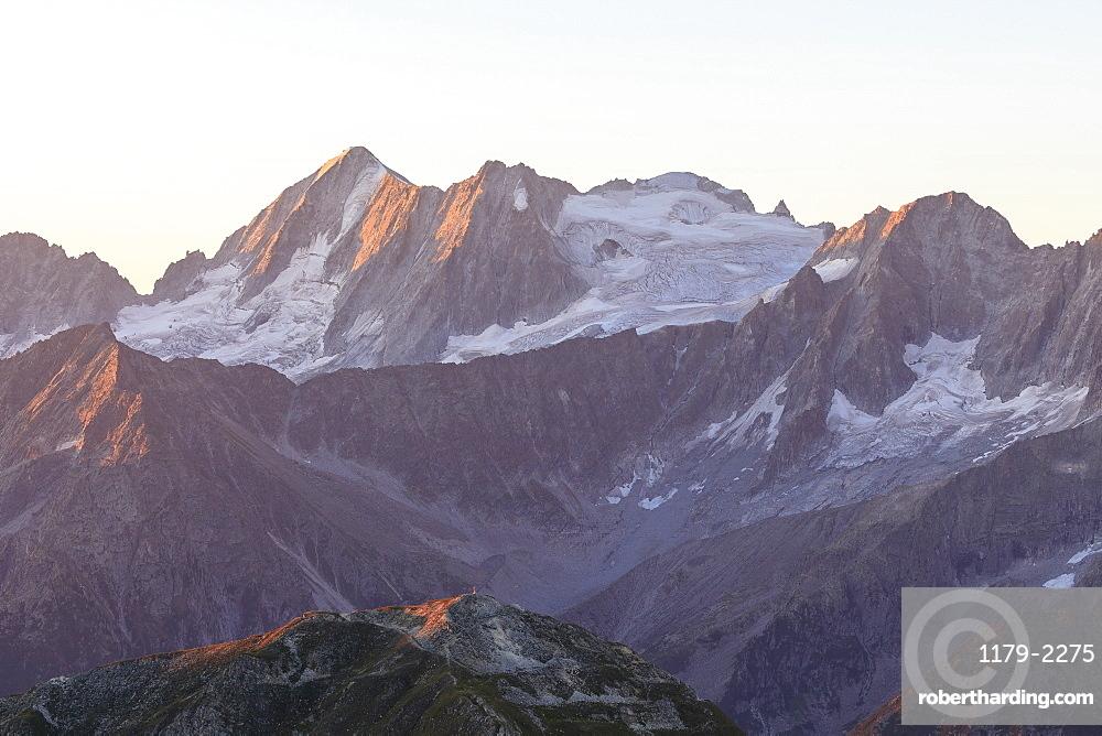 Rocky peak of Cima Presanella seen from Monte Tonale at dawn, Valcamonica, border Lombardy and Trentino-Alto Adige, Italy, Europe