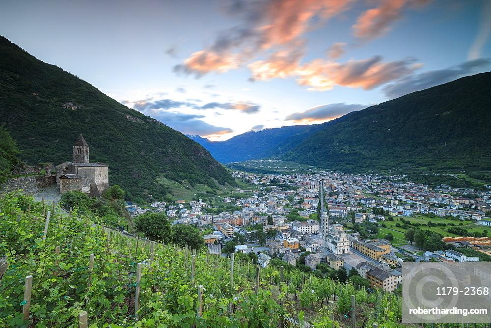 Ancient Xenodochio of Santa Perpetua on hills above the town of Tirano, province of Sondrio, Valtellina, Lombardy, Italy, Europe