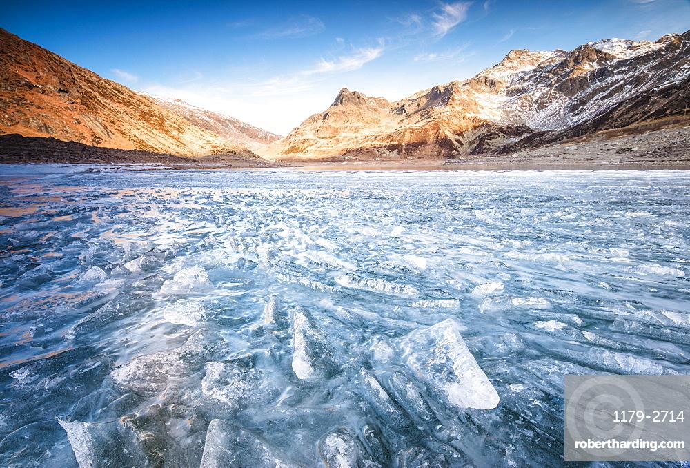 Blocks of ice, Montespluga, Chiavenna Valley, Sondrio province, Valtellina, Lombardy, Italy, Europe