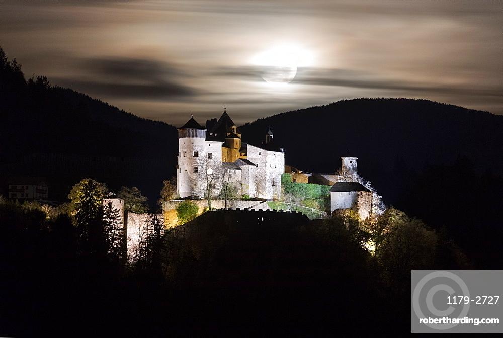 Full moon on Prosels Castle, Fie allo Sciliar, Seiser Alm, South Tyrol, Bolzano province, Italy, Europe