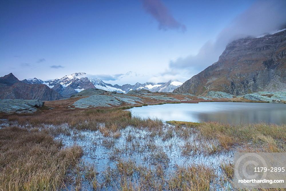 Alpine lake with Monte Disgrazia in the background, Alpe Fora, Malenco Valley, province of Sondrio, Valtellina, Lombardy, Italy, Europe
