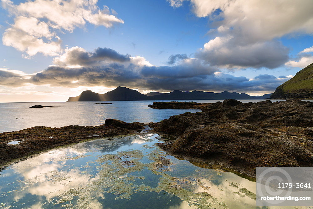 Ocean at sunrise, Gjogv, Eysturoy island, Faroe Islands, Denmark, Europe