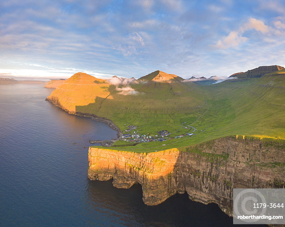 Aerial panoramic of of Gjogv, Eysturoy island, Faroe Islands, Denmark, Europe