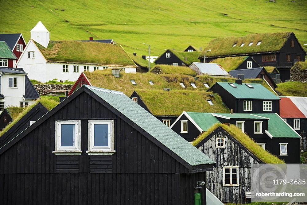 Traditional houses with grass roof, Mykines island, Faroe Islands, Denmark, Europe
