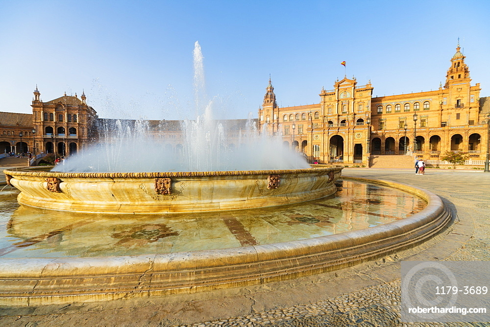 Vicente Traver fountain facing the central building of Plaza de Espana, Seville, Andalusia, Spain, Europe