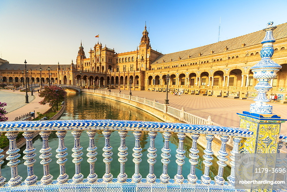 Decorated ceramic balustrade in Art Deco style along the canal, Plaza de Espana, Seville, Andalusia, Spain, Europe